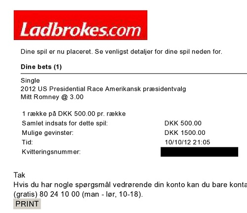 Romney, Ladbrokes